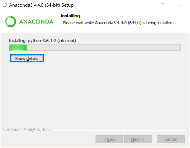 Anaconda3 설치 - 인스톨링
