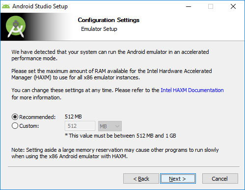 4. android studio installation change RAM
