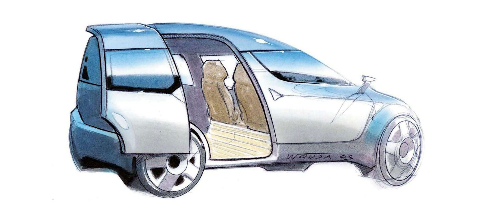 Skoda Roomster sketch by Peter Wouda - early theme with sliding rear door