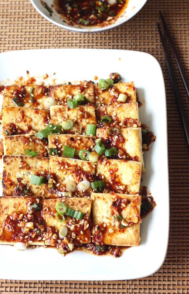 Pan Fried Tofu with Spicy Korean Sauce recipe by SeasonWithSpice.com
