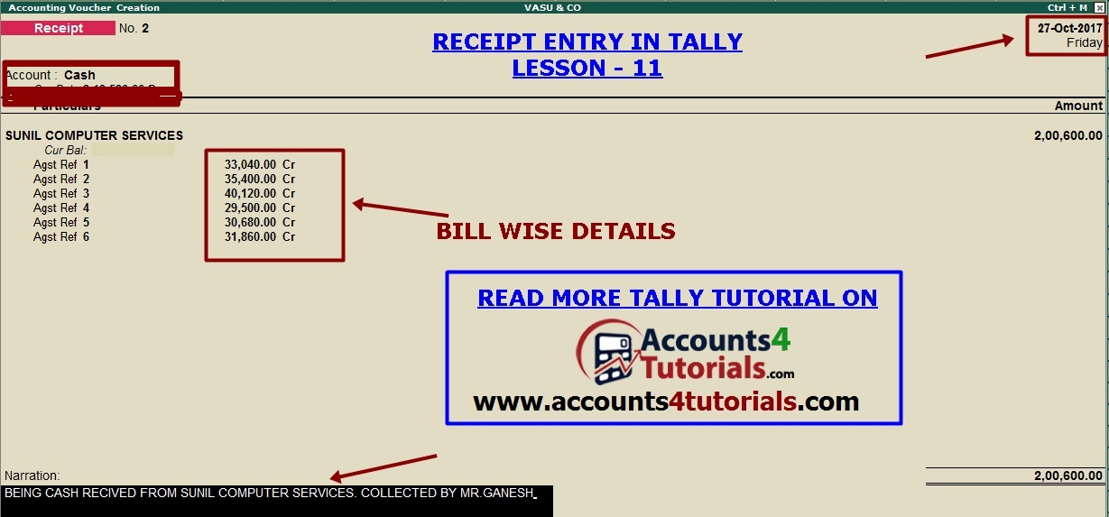 gst tutorial in tally lesson 11 - receipt voucher entry in tally - cash received receipt