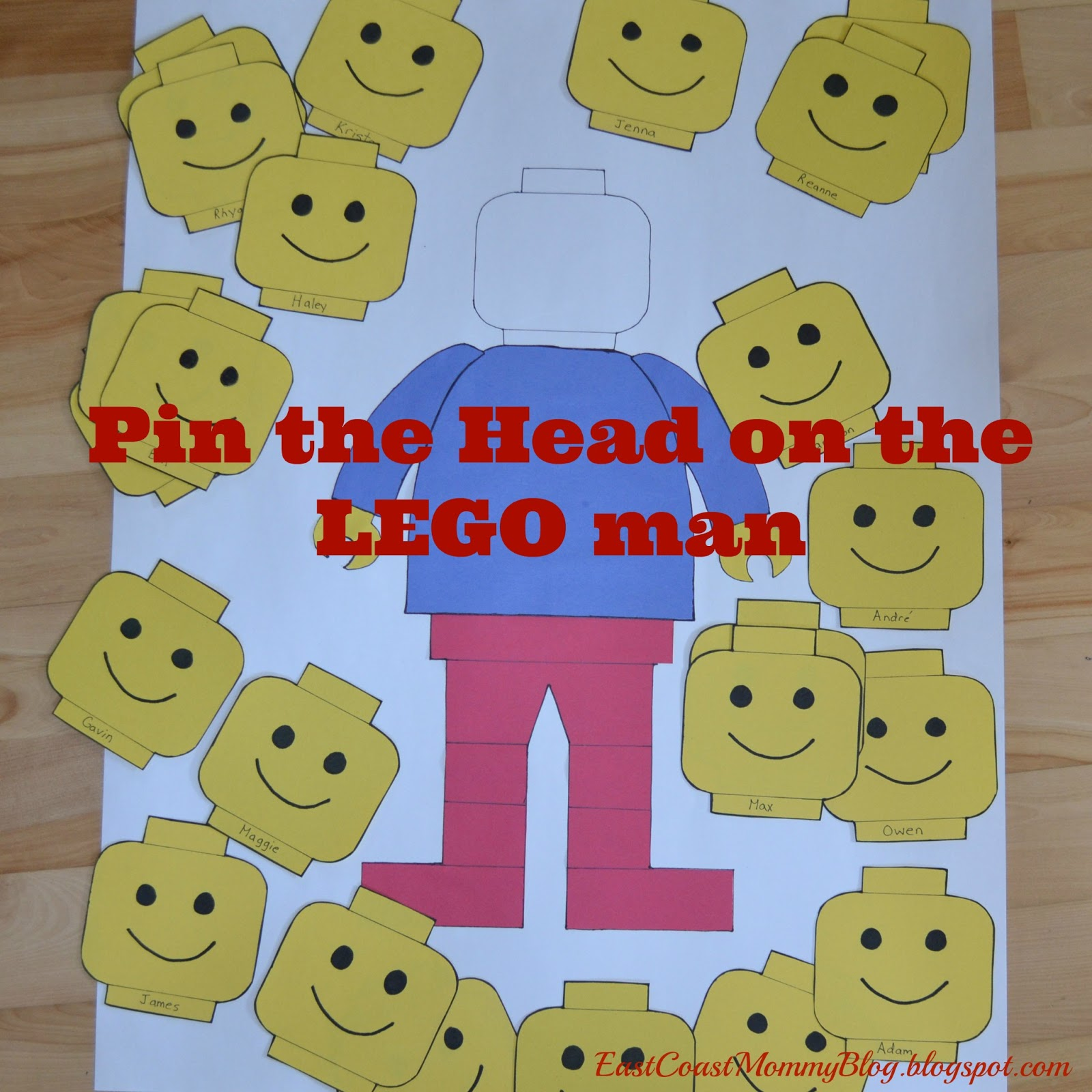 picture relating to Lego Man Printable called East Coastline Mommy: Pin the Mind upon the LEGO Gentleman with free of charge