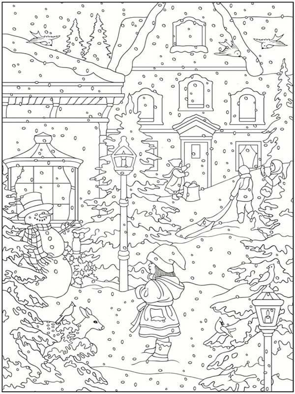 Amazon.com: Creative Haven Winter Wonderland Coloring Book (Adult ... | 800x600