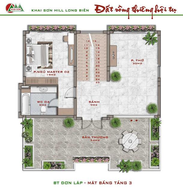 Thiết kế tầng 3 biệt thự đơn lập
