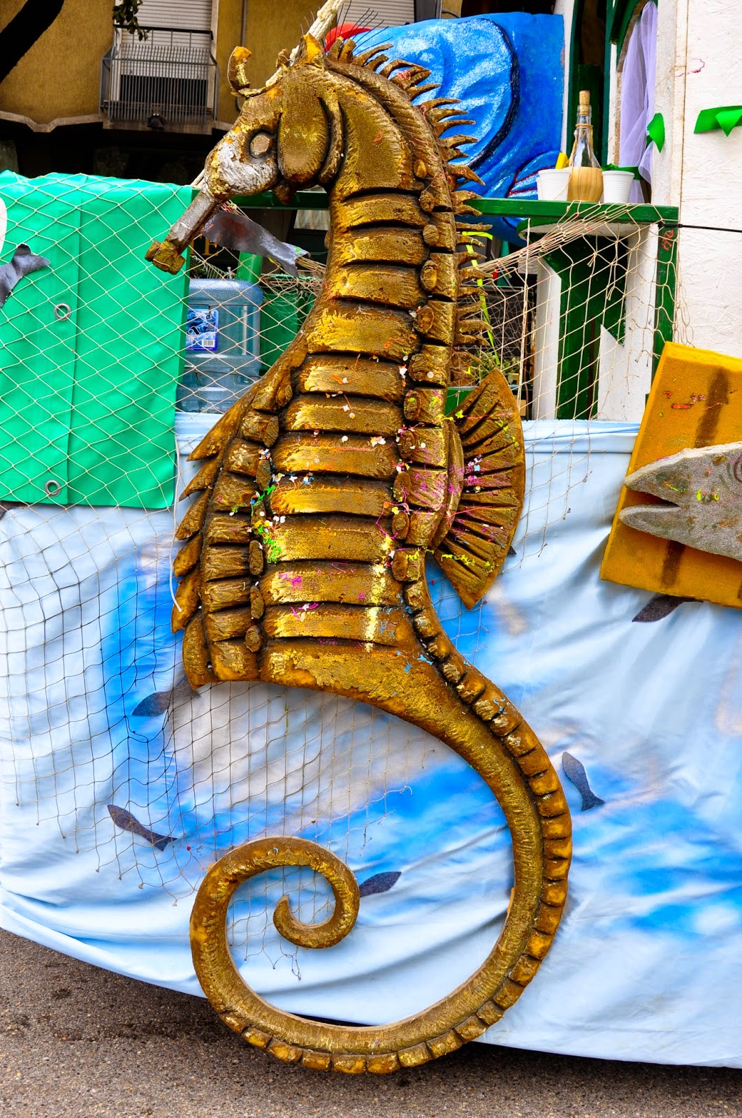 A seahorse adorns a large float at the parade for Verona Carnival