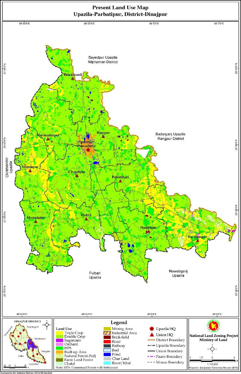 Parbatipur Upazila Mouza Map Dinajpur District Bangladesh