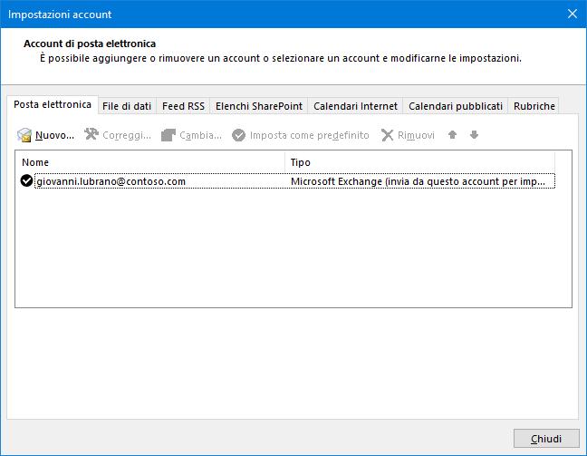 Outlook, Impostazioni account