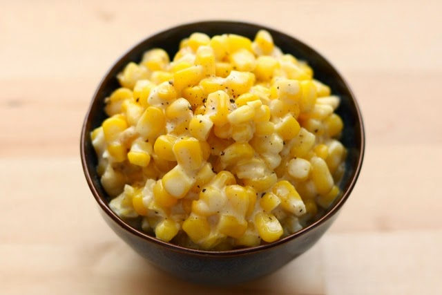Rudy's Slow Cooker Creamed Corn from Barefeet in the Kitchen featured on SlowCookerFromScratch.com