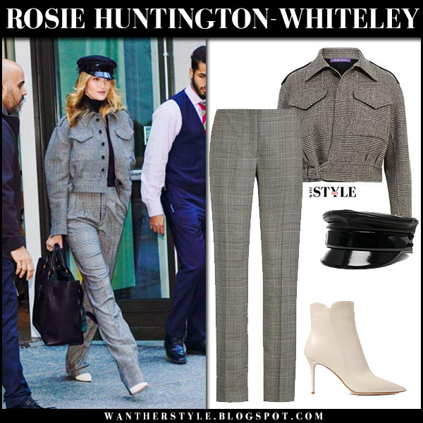 Rosie Huntington-Whiteley in grey plaid jacket, grey plaid pants ralph lauren and white boots gianvito rossi street style february 12