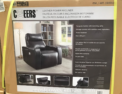 Costco 1900026 - Cheers Leather Power Recliner: not your typical recliner chair from yesteryear