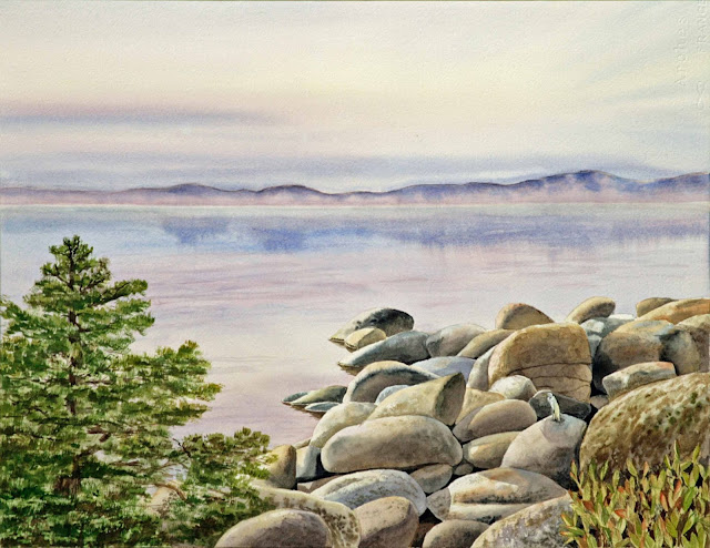 Lake Tahoe Watercolor Painting by Irina Sztukowski