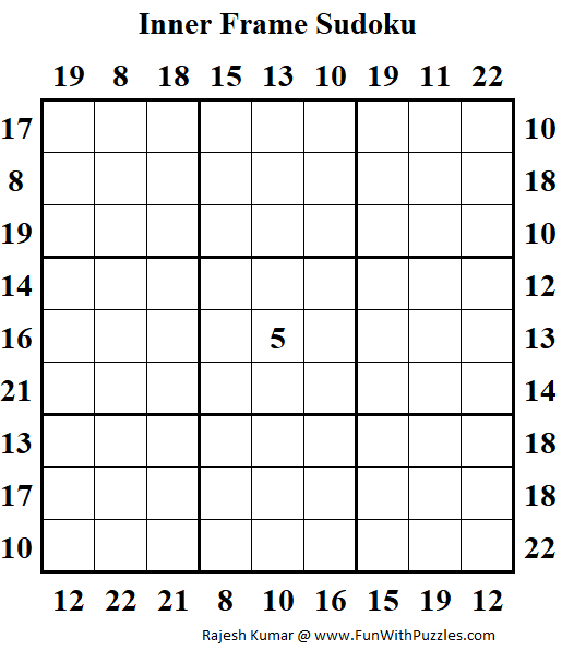 Inner Frame Sudoku Puzzle (Fun With Sudoku #312)