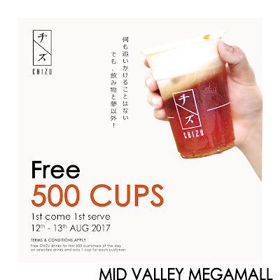 Free Chizu Drink Mid Valley Opening Offer Promo