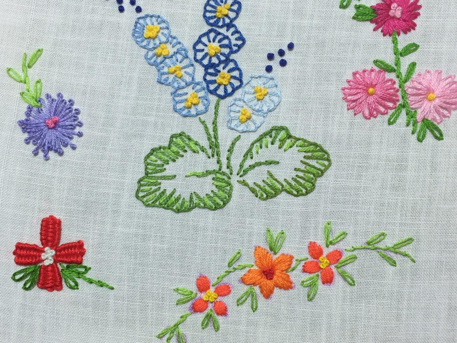 satin stitch embroidery flower
