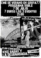 Concierto de Kike Babas y cine club en Gruta 77