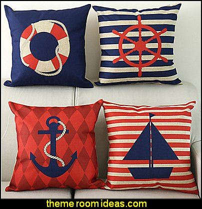 Nautical Decorative Pillow Cover  nautical decor - nautical bedroom ideas - decorating nautical style bedrooms - nautical decor - sailing ship theme - coastal seaside beach theme - boat beds - beach house decorating - Travelers and seafarers - nautical bedding - nautical bedroom furniture