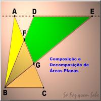 Ilustração mostrando dados de um exercício de geometria que contempla a composição de áreas de triângulos para determinar a área de um quadrilátero