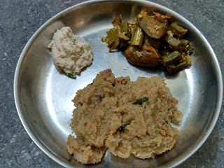 Rava upma with Home made Samba Wheat rava, Brinjal Ladies finger curry, Coconut Chutney