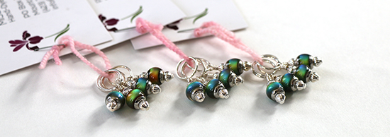 Three Sets of Miss Bags Mood Bead Stitch Markers for Knitting