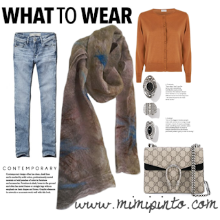 Weekend outfit with grey scarf by Mimi Pinto