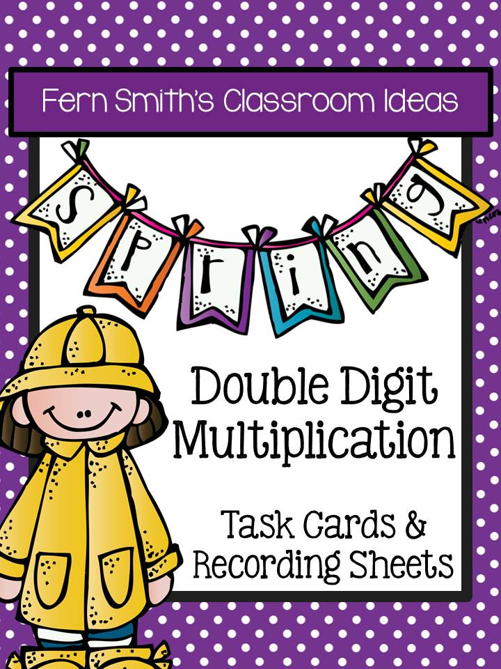 Fern Smith's Classroom Ideas  Spring Double Digit Multiplication Task Cards and Recording Sheets