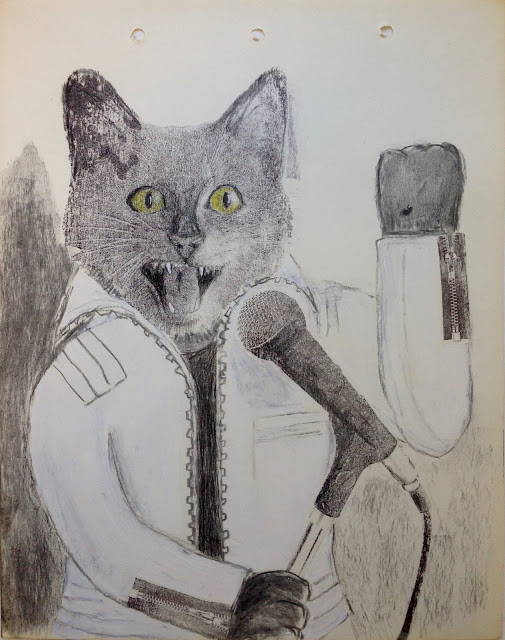 Cat Concert Choir art illustration drawing print rock tomcat singer singing white jacket modern talking