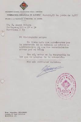 Carta de Rafael Gamonal a Ángel Ribera en 1977