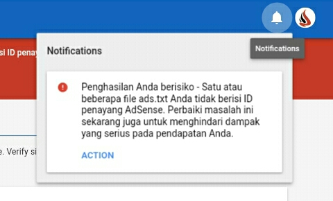 masalah warning ads txt google adsense blogger