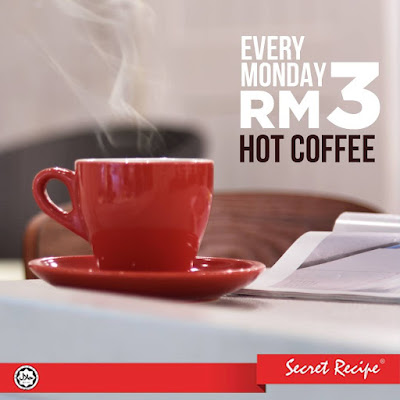Secret Recipe Malaysia Hot Coffee RM3 Discount Promo Every Monday