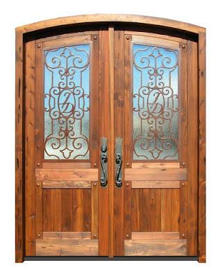 Mẫu cửa sắt giả gỗ 2 cánh cửa đi