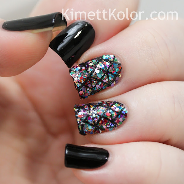glitter covered nails.with stamping