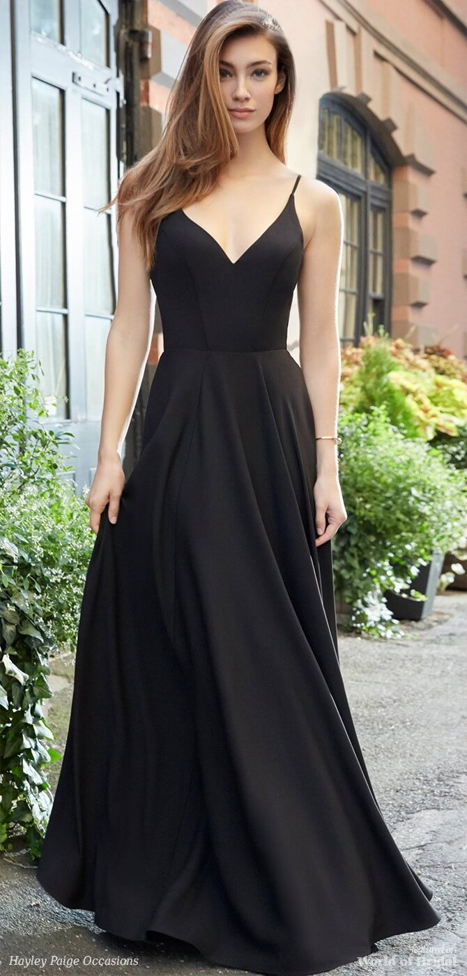 Hayley Paige Occasions Spring 2018 Black crepe-line bridesmaid gown