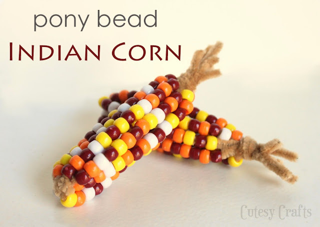 Pony Bead Indian Corn craft image. Follow text below on how to make the craft.