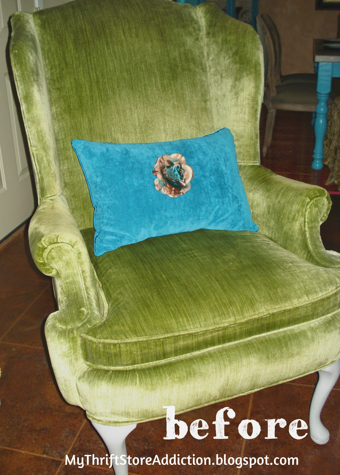 BEFORE vintage linen slipcover