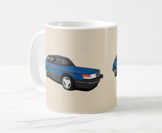 Saab 900 Turbo Aero coffee mug illustration