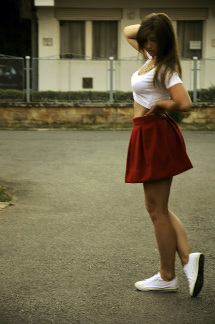 TOP & RED SKIRT