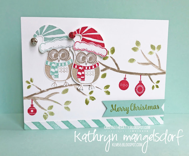 Stampin' Up! Jolly Friends, Jolly Hat Builder Punch, Cozy Critters, Owl Builder Punch, Christmas Card created by Kathryn Mangelsdorf