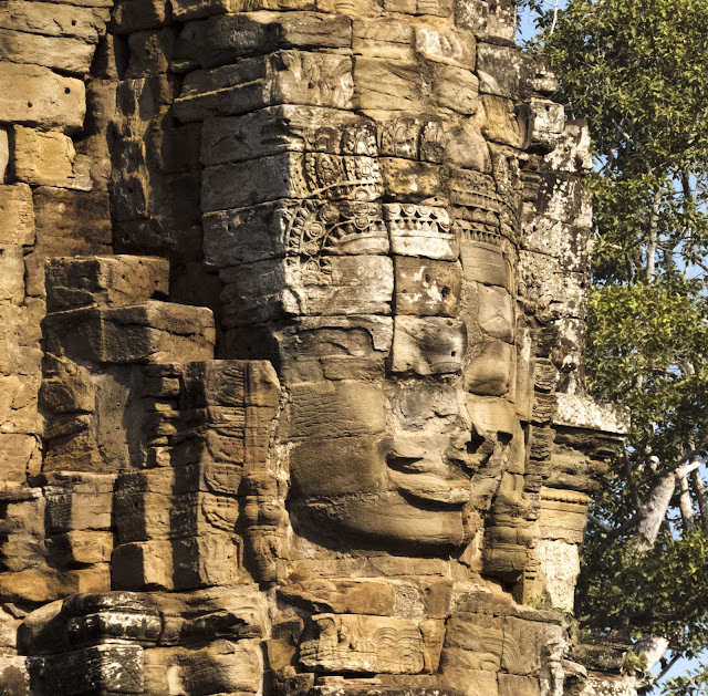 Face at Bayon Temple near Siem Reap Cambodia