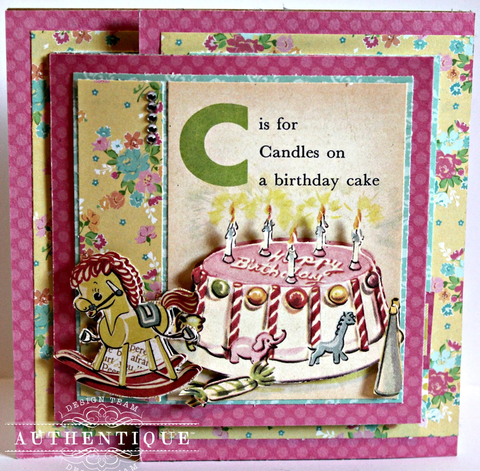 Authentique Paper Tri Fold Birthday Card with the Beginnings