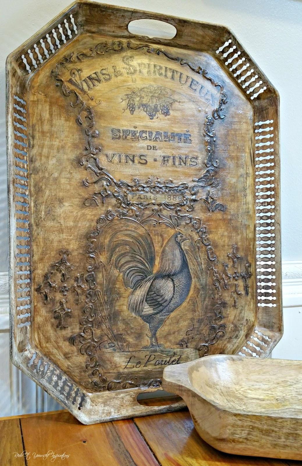 Upcycled Vintage Tray French Kitchen Art Tutorial Redo