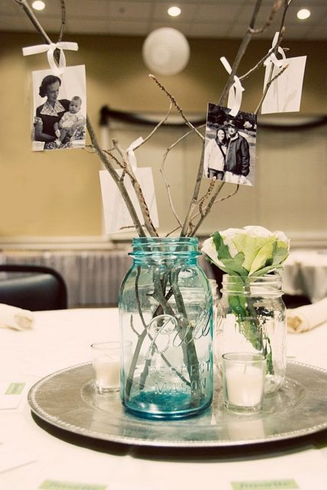 centros de mesa para boda con fotos de los novios