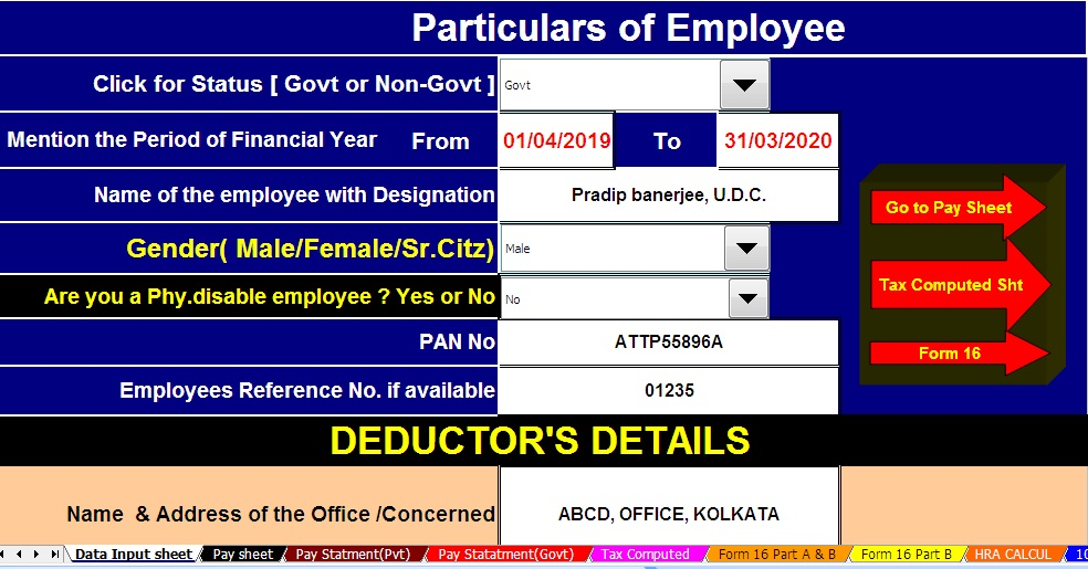 Download Automated All In One Tds On Salary For Govt Non Govt