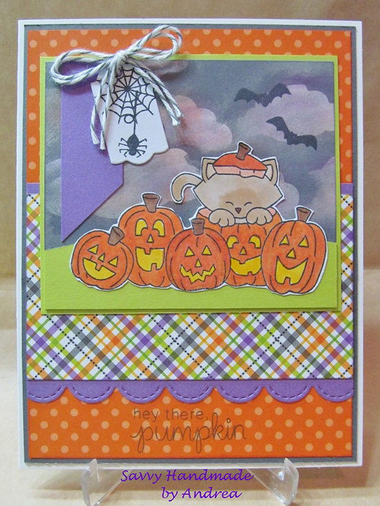 Inky Paws Challenge #36 Halloween | Kitty Pumpkin card by Andrea | Newton's Boo-tiful Night Stamp set by Newton's Nook Designs #newtonsnook