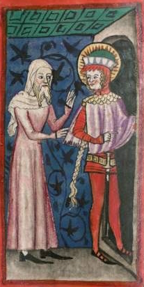 Illumination of cross-dressing saints, from Legenda Sanctorum, Germany, 1362