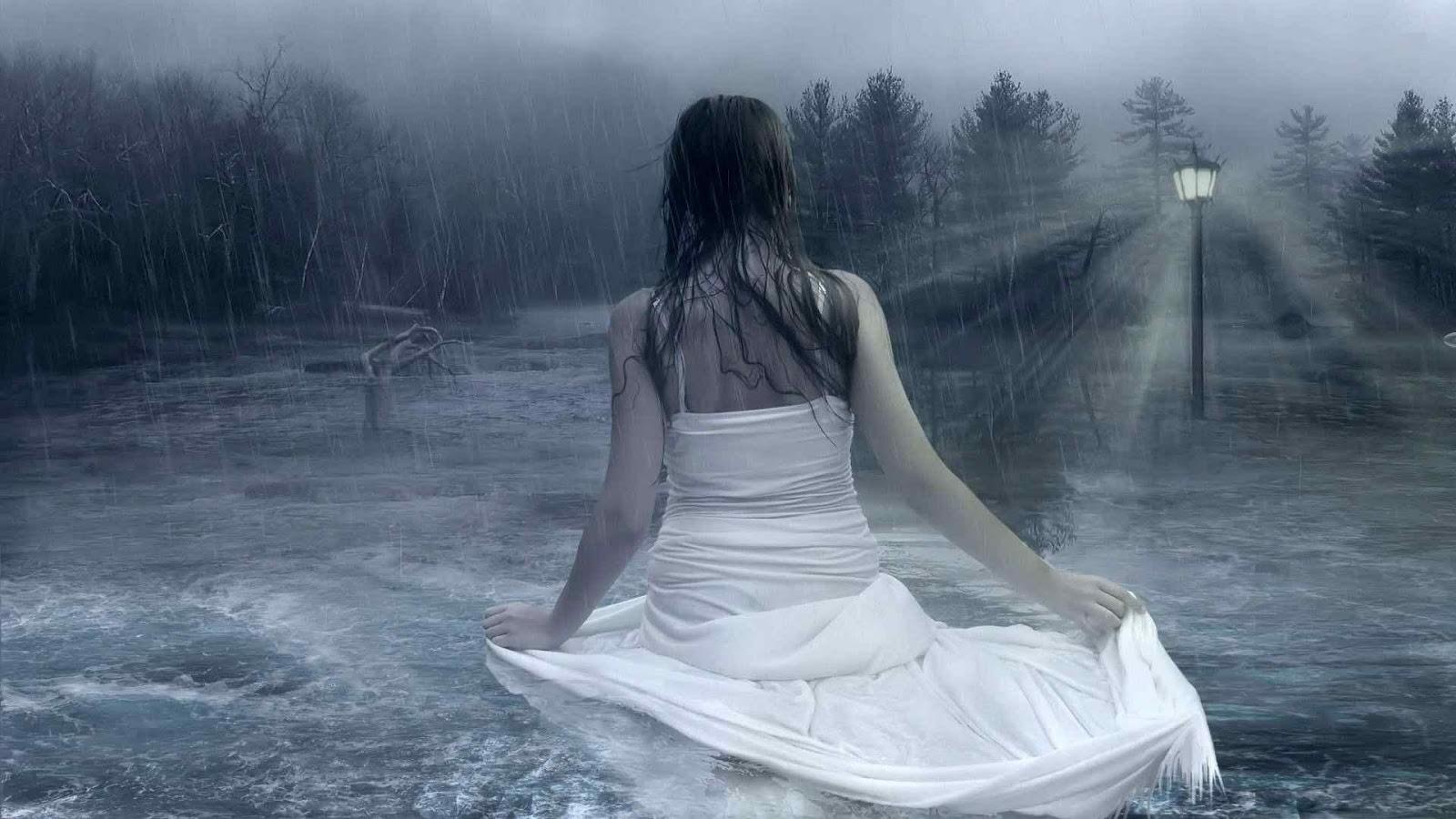 girl walking on rain at night profile dp