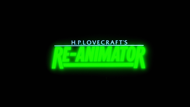 Re-Animator title card that glows green