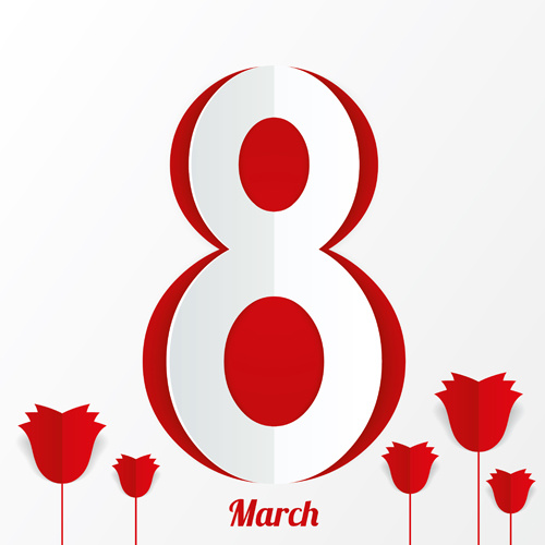 Women's Day Red style 8 march design elements Free vector