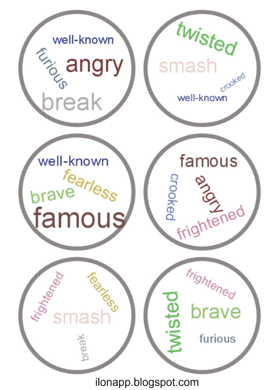 Dobble Homonyms Synonyms And Antonyms Printables