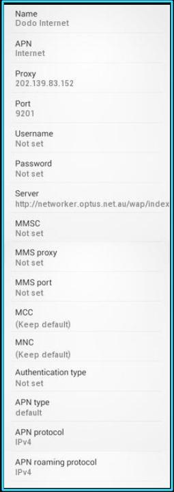 New Dodo APN Settings android