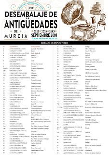 Listado de expositores de la 16ª edición del desembalaje de Murcia en Torrepacheco